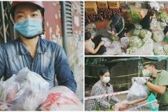 Nhóm thiện nguyện tặng lương thực cho người khó khăn ở Sài Gòn