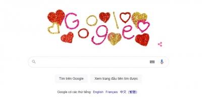 Google Doodle thay giao diện đặc biệt kỷ niệm ngày lễ tình nhân Valentien 14/2